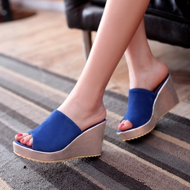 Ericdress Suede Peep Toe Platform Wedge Mules Shoes