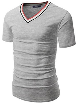 Ericdress Stripe V-Neck Slim Men's T-Shirt