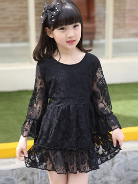 Ericdress Solid Color Girls Lace Dress