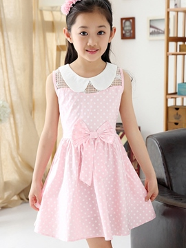 Ericdress Bowknot Patchwork Mesh Point Printed Girls Dresses
