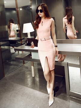 Ericdress Soild Color Sleeveless Split Sheath Dress