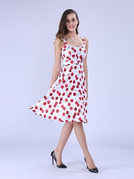 Ericdress Cherry Printed Casual Dress