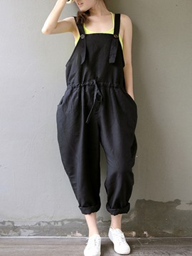 Ericdress Loose Solid Color Suspender Pants