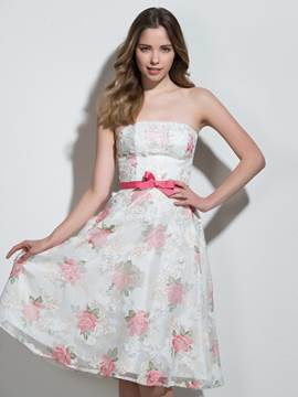 Ericdress A-Line Strapless Bowknot Lace Printed Sashes Cocktail Dress