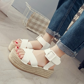 Ericdress Roman Kintting Buckles Decorted Wedge Sandals