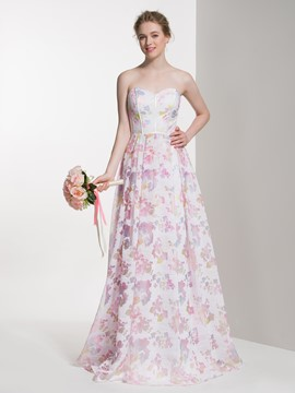 Ericdress Beautiful Sweetheart A Line Printed Long Bridesmaid Dress