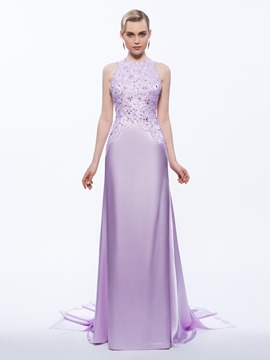 Ericdress Halter Sheath Appliques Beading Watteau Train Evening Dress