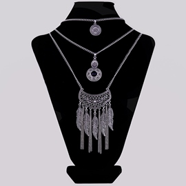 Ericdress Leaves Tassels Multilayer E-Plating Necklace