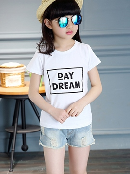 Ericdress Letter Short Sleeve Girls T-Shirt