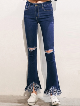 Ericdress Ripped Flare Jeans