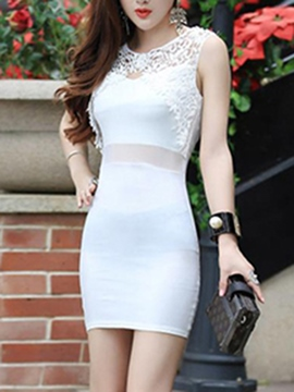Ericdress Sexy Lace Patchwork Soild Color Bodycon Dress