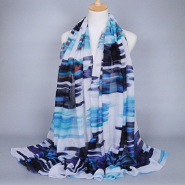 Ericdress Colorful Stripe Print Voile Scarf