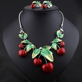 Ericdress Chic Red Cherry Jewelry Set