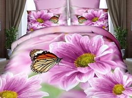 Ericdress Butterfly Lingering On Flower Print 3D Bedding Sets