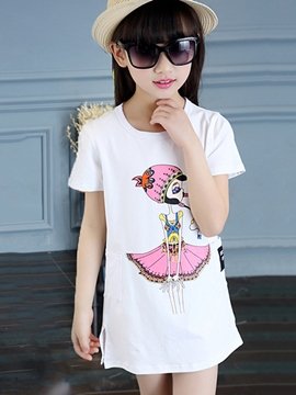 Ericdress Short Sleeve Cartoon Girls Dress