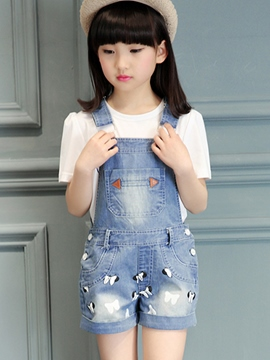 Ericdress Denim Embriodery Print Girls Outfits