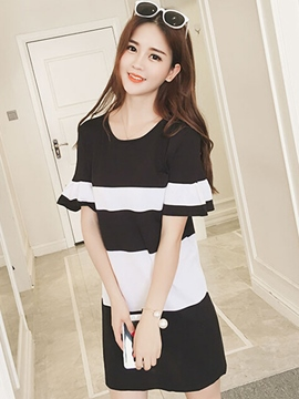 Ericdress Korean Color Block Stripe Casual Dress