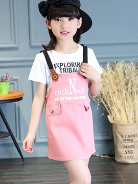 Ericdress Straps Striped Button Patchwork Girls Outfits