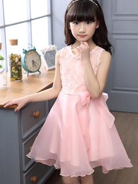 Ericdress Solid Color Pleated Falbala Lace Patchwork Girls Dress