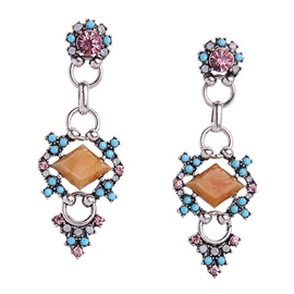 Ericdress Rhombus Gemstone Inlaid E-Plating Earrings