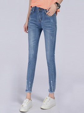 Ericdress Solid Color Skinny Ripped Jeans