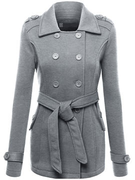 Ericdress Solid Color Double-Breasted Lace-Up Coat