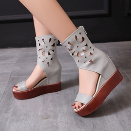 Ericdress PU Cut-Out Open Toe Wedge Sandals