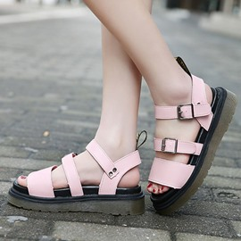 Ericdress Simple Cut Out Buckles Flat Sandals