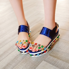 Ericdress Colorful Rivets Patchwork Wedge Sandals
