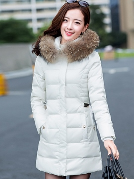 Ericdress Slim Plain Hooded Coat