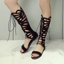 Ericdress Roman Cut Out Lace up Knee High Flat Sandals