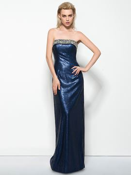 Ericdress Strapless Sheath Beading Sequins Long Evening Dress