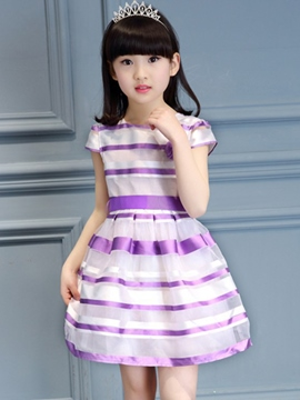 Ericdress Mesh Striped Bowknot Pleated Girls Dresses