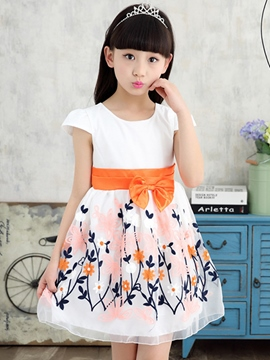 Ericdress Floral Print Patchwork Lace-Up Girls Dress