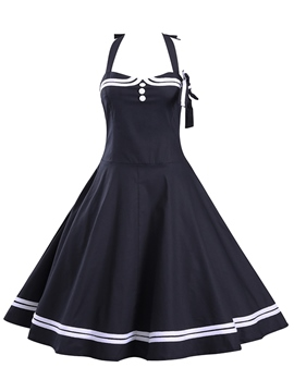 Ericdress Patchwork Halter Vintage Casual Dress