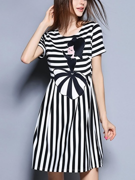 Ericdress Stripe Cartoon Print Casual Dress