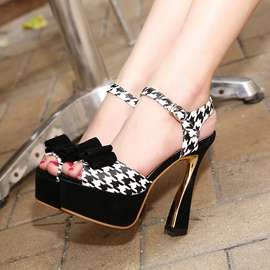 Ericdress Bowtie Houndstooth Printed Chunky Sandals