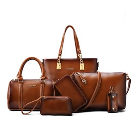 Ericdress Thread Decorated Waxy Leather Handbags(6 Bags)