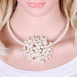 Ericdress Pearls Flower Necklace