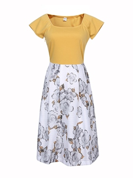Ericdress Print Patchwork Short Sleeve Casual Dress