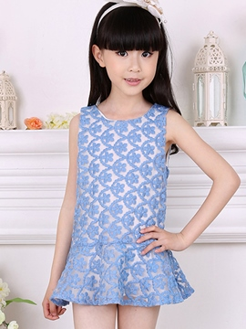 Ericdress Low-Waist Lace Embroidery Sleeveless Girls Dress
