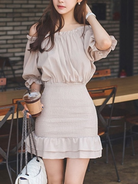 Ericdress Solid Color Slash Neck Patchwork Bodycon Dress