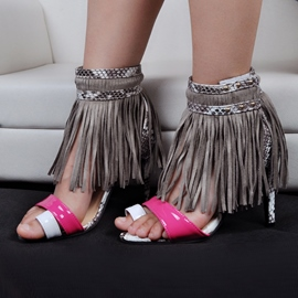 Ericdress Modern Patchwork Tassels Toe Ring Stiletto Sandals