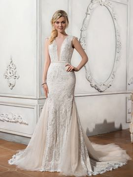 Ericdress Charming Illusion Neckline Backless Lace Mermaid Wedding Dress