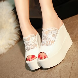 Ericdress Lace Patchwork Platform Wedge Mules Shoes