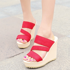 Ericdress Charming Open Toe Platform Wedge Mules Shoes