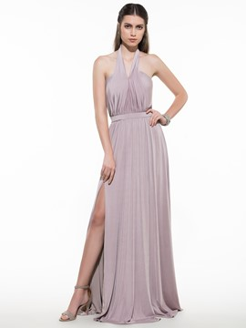 Ericdress A-Line Halter Draped Sashes Split-Front Sweep Train Evening Dress