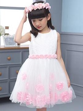 Ericdress Stereo Flower Lace Mesh Suspenders Girls Dresses
