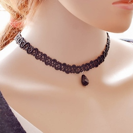 Ericdress Black Lace Gemstone Pendant Necklace