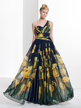 Ericdress A-Line One-Shoulder Appliques Pleats Printed Sequins Split-Front Prom Dress